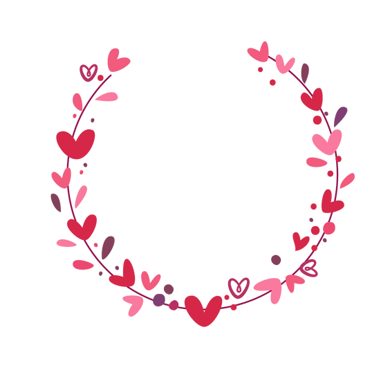 Half Wreath with Hearts - Free PNG Images, Transparent Image Digital Download