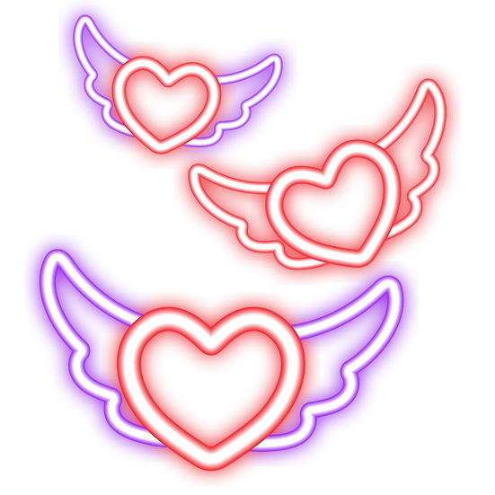 Neon Hearts Clipart - Free PNG Images, Transparent Image Digital Download