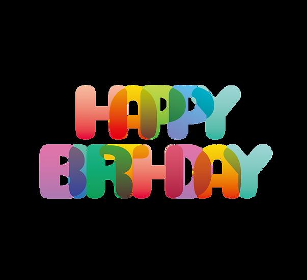 Vivid Happy Birthday Inscription - PNG Transparent Image - Digital Download