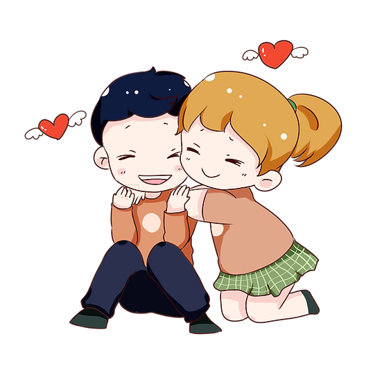 Hugging Couple - Valentine's Day PNG Transparent Image - Instant Download