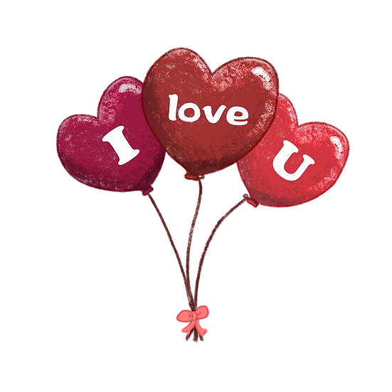 I Love You Heart-Shaped Balloons - Free PNGTransparent Image, Instant Download