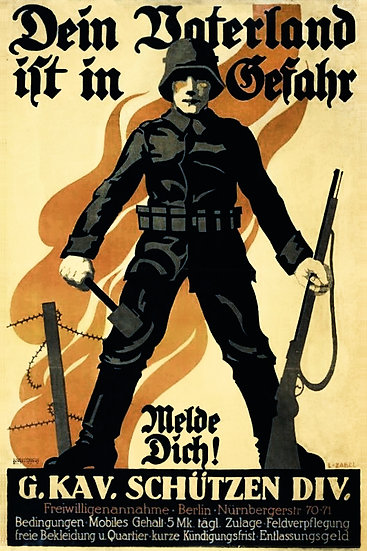 WW1 German Propaganda Poster, Soldier with Mauser and Grenade, Digital Download