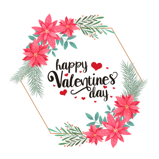 Happy Valentine's Day Botanical Greeting Card PNG Image - Instant Download