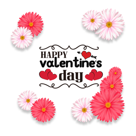 Happy Valentine's Day Greeting Card with Daisies PNG Image - Instant Download