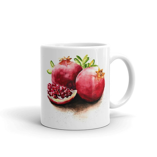 Watercolor Pomegranate Coffee Cup Mug for Coffee / Tea White Ceramic Mugs1