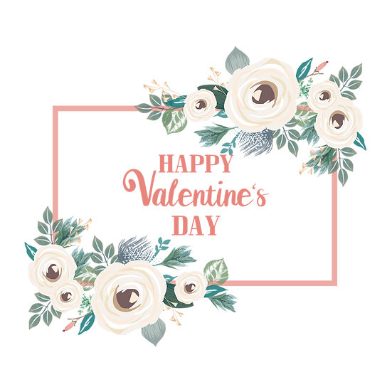 Blooming Valentine's Day Greeting Card - PNG Transparent Image, Instant Download