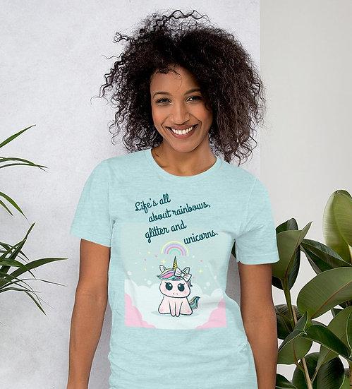 Life's All About Rainbows, Glitter, Unicorns Design Short-Sleeve Women's T-Shirt