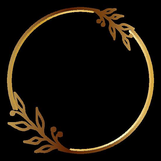 Golden Circle Botanical Frame - Free PNG Transparent Image, Instant Download