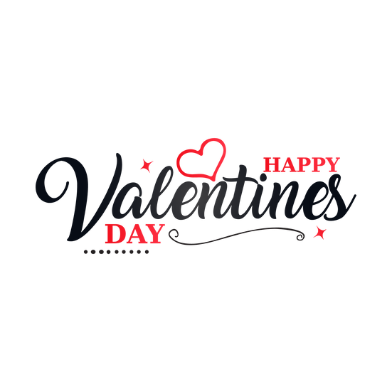Happy Valentine's Day Beautiful Inscription Transparent Image - Instant Download