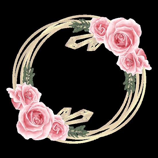 Watercolor Circle with Roses, Free PNG Image, Transparent Image Digital Download