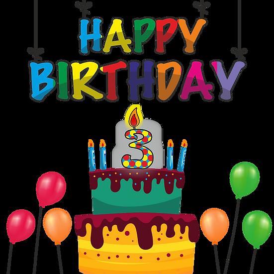 Birthday Greeting Card - 3 Year - PNG Transparent Image - Digital Download