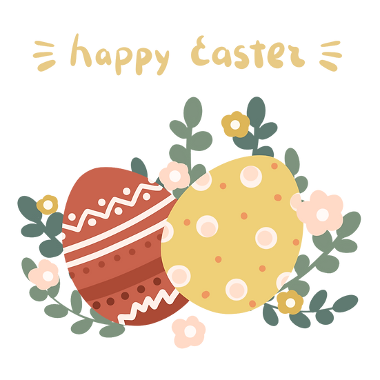 Happy Easter Colorful Eggs Clipart - PNG Transparent Image - Instant Download
