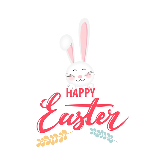Easter Clipart with Red Inscription - PNG Transparent Image - Instant Download
