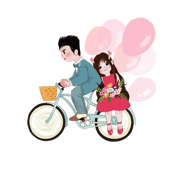 Adorable Couple Riding a Bike - Valentine's Day PNG Image - Instant Download