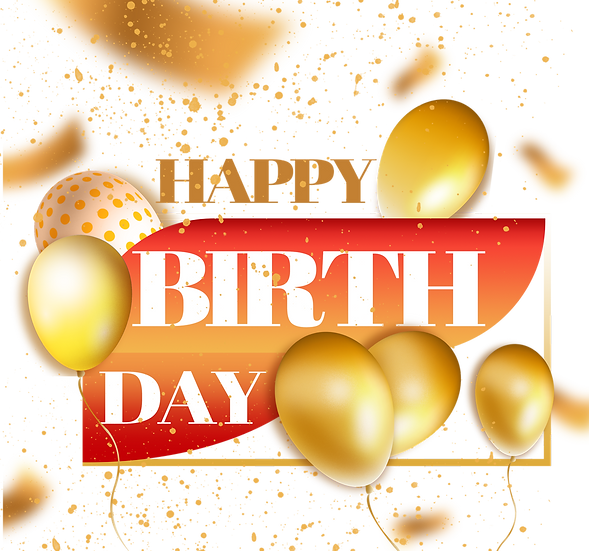 Birthday Greeting Card with Balloons - PNG Transparent Image - Digital Download