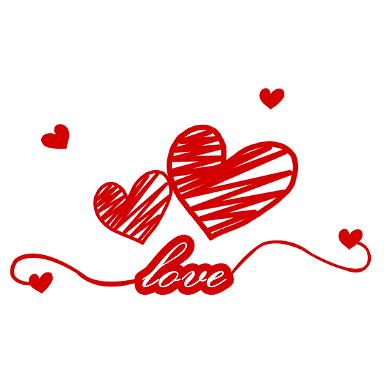 Love Inscription with Hearts,Free PNG Image, Transparent Image Instant Download