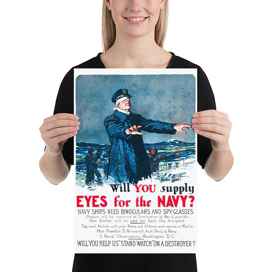 """WW1 US Navy Propaganda Poster """"Will you supply eyes for the Navy?"""""""