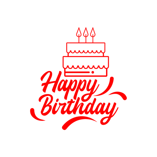 Birthday Clipart with Cake and Candles- Transparent Image - Digital Download