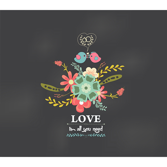 Love is All You Need Greeting Card - Valentine's Day PNG Image, Instant Download