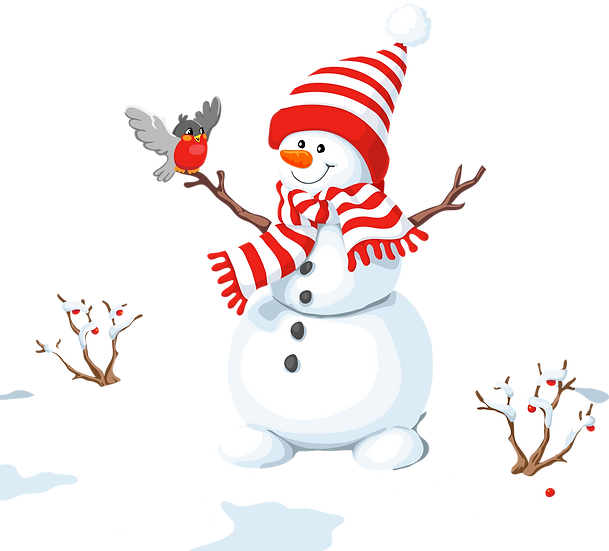 Happy Snowman with Bird Free PNG Images - Free Digital Image Download