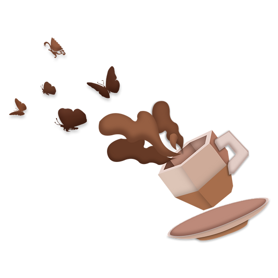 Coffee Cup with Butterflies - Free PNG Image, Transparent Image Digital Download