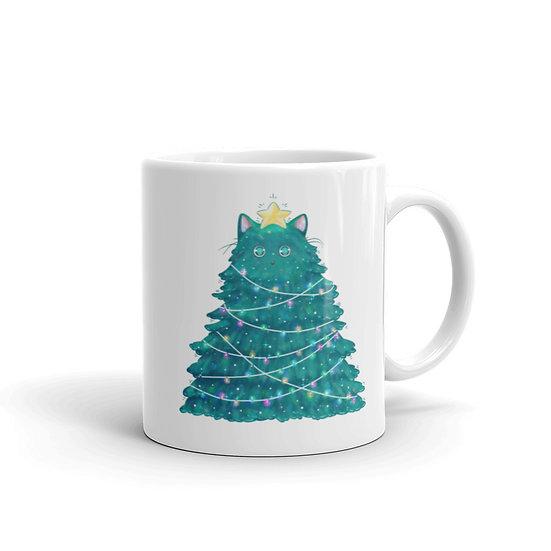 Meowy Christmas Tree Mug for Coffee / Tea, White Ceramic