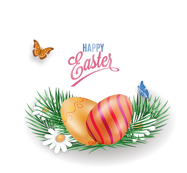 Happy Easter Clipart - Easter PNG Transparent Image - Instant Download