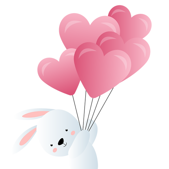 Bunny with Heart-Shaped Balloons - Valentine's Day PNG Image - Instant Download