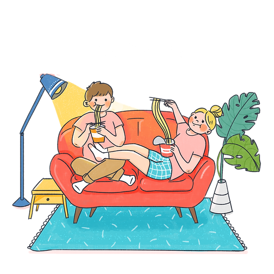Daily Life of a Loving Couple - Valentine's Day PNG Image - Instant Download