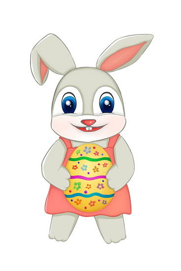 Happy Rabbit with Easter Egg Clipart - PNG Transparent Image - Instant Download