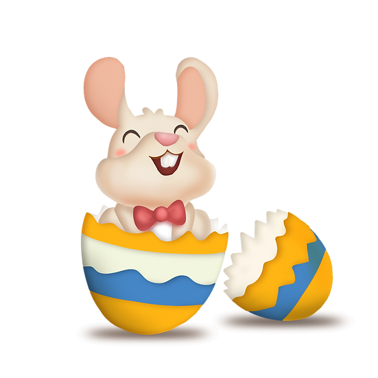 Excited Bunny in the Egg Clipart - Easter Transparent Image - Instant Download