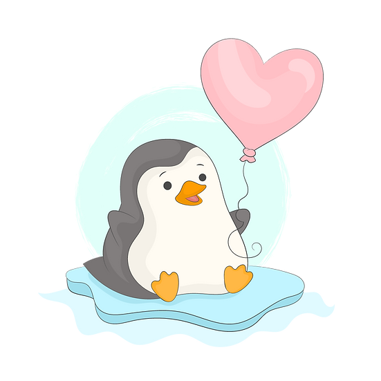 Penguin with Heart Balloon - Free PNG Images, Transparent Image Instant Download