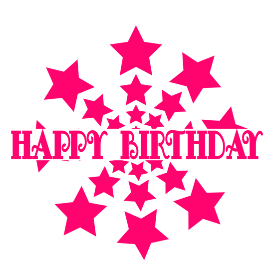 Happy Birthday Inscription with Stars - PNG Transparent Image - Digital Download
