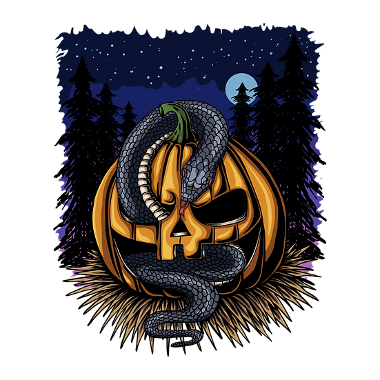 Halloween Pumpkin with Snake Printables PNG Image  - Editable / Downloadable