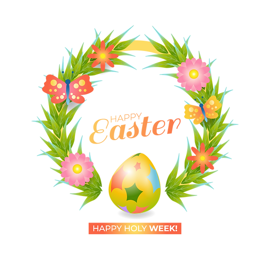 Happy Easter, Happy Holy Week Wreath - PNG Transparent Image - Instant Download