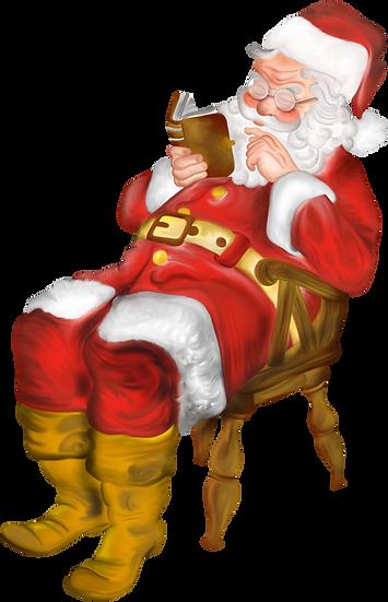 Santa Claus Reading a Book Free PNG Images - Free Digital Image Download