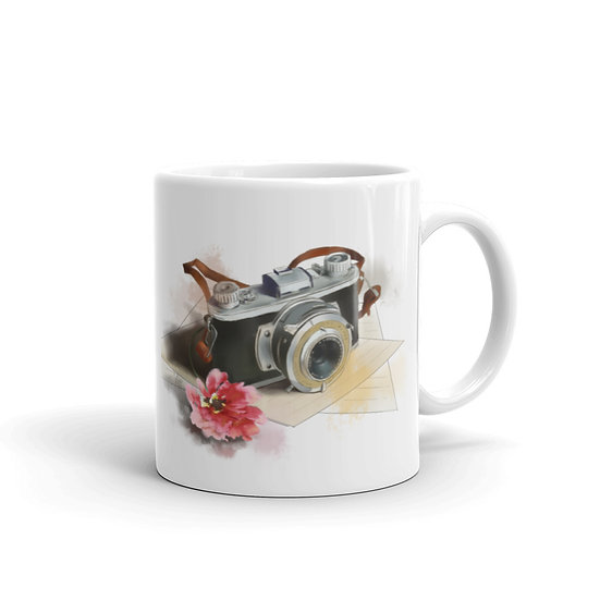 Watercolor Film Camera Coffee Cup Mug for Coffee / Tea White Ceramic Mugs1