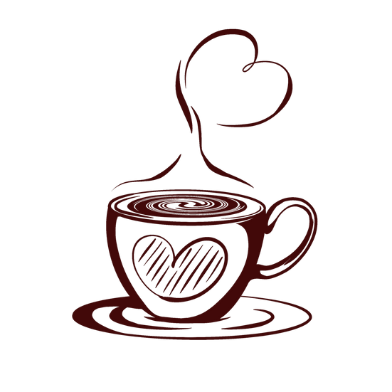 Hot Coffee Cup with Heart Design - Free PNG Transparent Image, Digital Download