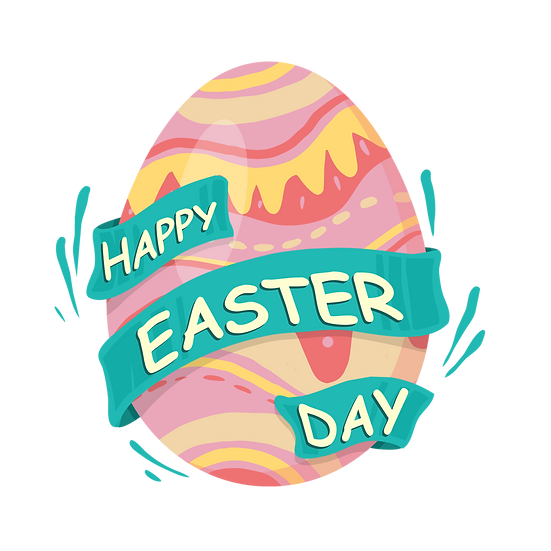Happy Easter Day Egg Clipart - PNG Transparent Image - Instant Download