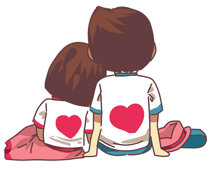 Couple on a Date - Valentine's Day PNG Transparent Image - Instant Download