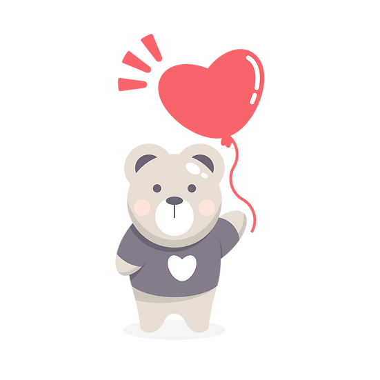 Bear Holding Heart Balloon - Free PNG Images, Transparent Image Digital Download