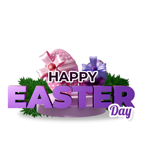 Happy Easter Day 3D Inscription with Eggs - Transparent Image - Instant Download