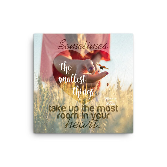 Winnie the Pooh Quotes The Smallest Things Canvas Size 12x12, 16x16