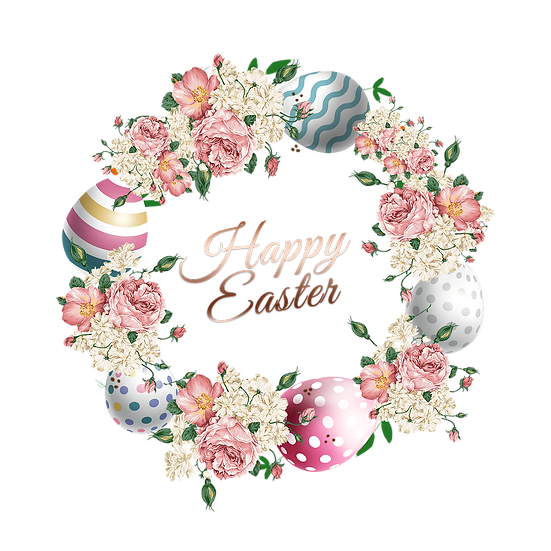 Easter Flowery Wreath - Easter PNG Transparent Image - Instant Download