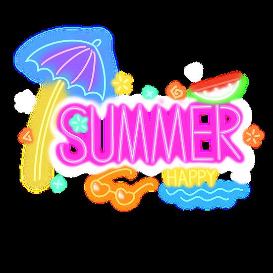 Summer Neon Clipart - Free PNG Images, Transparent Image Digital Download