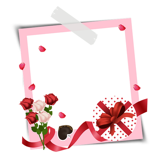 Photo Frame with Roses and Gift - Valentine's Day PNG Image - Instant Download