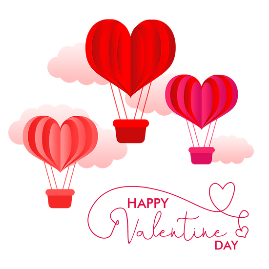 Valentine Day Greeting Card with Air Balloons - PNG Image - Instant Download