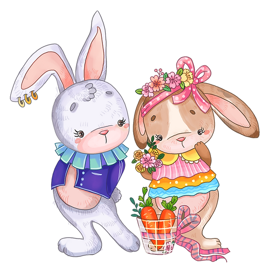 Rabbits Love Story - Valentine's Day PNG Transparent Image - Instant Download