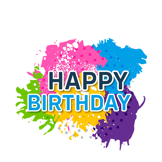 Colorful Birthday Clipart - PNG Transparent Image - Digital Download