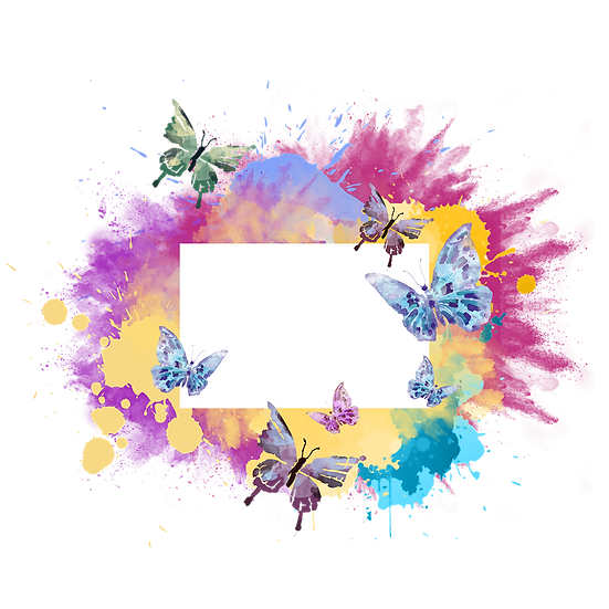 Colorful Splash with Butterflies - Free PNG Images, Instant Download